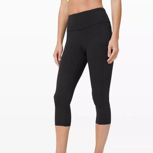 "Lululemon Fast & Free Tight 19"" Crop Black Size 6"